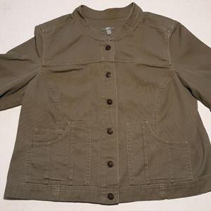🔴J. Jill olive green jean utility jacket sz MP